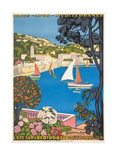 Summer on the Cote D'Azur (L'Été Sur La Cote D'Azur), 1926 Giclee Print by Guillaume G. Roger at AllPosters.com