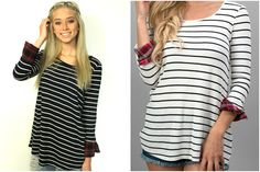 This striped and plaid top makes the perfect addition to your fall wardrobe. Pair it with a vest and a scarf and your ready for an autumn day on the town.