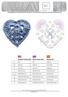 Crochet Granny Heart - Chart ❥ 4U hilariafina…