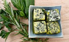 The best way to preserve the flavor of fresh herbs. Easy and delicious way to perk up anything on the grill stove-top or in the oven. Milk Recipes, New Recipes, Coffee Ice Cubes, Herb Butter, Food Articles, Peanut Butter Cups, Fresh Herbs, Fresh Rolls, Cooking Tips