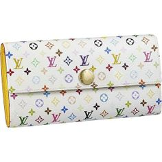LOUIS VUITTON MONOGRAM MULTICOLORE SARAH WALLET M93743  - Monogram Multicolore canvas, grained leather lining, golden brass pieces - Press stud closure  - Ten credit card slots (four in front, six inside)  - One large pocket for bills and receipts  - Two large compartments for notes and papers  - One zipped compartment for coins  Our website: http://www.onlineforlouisvuitton.com/