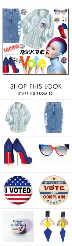 """""""Rock The Vote!!!!!"""" by fassionista ❤ liked on Polyvore featuring Aéropostale, Moschino, Christian Louboutin, Jacques Marie Mage, Democracy (DJD), Toolally and rockthevote"""