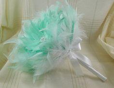 Bridal Bouquet  Wedding Bouquet Feather Bouquet by parfaitplumes, $120.00  #wedding#bridal#bouquet#mint#artdeco#1920s