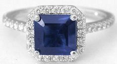 Princess Blue Sapphire Engagement Ring (GR-5919)