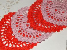 """Купить Подставка вязаная """"Сердечко"""" - ярко-красный, розовый цвет, сердце в подарок, сердце"""