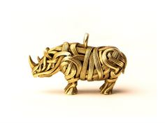 The Rhino Pendant by Genghis designs, 3D printed in Brass #3dprinting #3dprintedjewelry