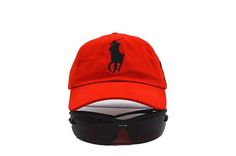 Mens Polo Ralph Lauren Big Pony Embroidered No. 3 Left Stitched Strap Back Adjustable Cap - Red