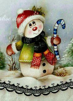 Pintura en tela Christmas Rock, Christmas Scenes, Christmas Snowman, Vintage Christmas, Christmas Crafts, Christmas Decorations, Christmas Ornaments, Snowman Faces, Cute Snowman