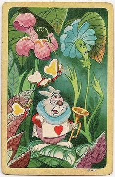 "Vintage Disney ""Alice in Wonderland"" White Rabbit playing card:"