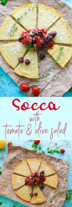 Socca (Chickpea Flour) Flatbread with Tomato and Olive Salad should be your next savory snack! You'll adore this gluten-free Socca (Chickpea Flour) Flatbread with Tomato and Olive Salad! #snack #appetizer #veganrecipes #vegetarian #glutenfree