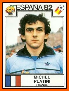 Michel Platini of France. 1982 World Cup Finals card. Football Stickers, Football Cards, Football Players, Michel Platini, 1982 World Cup, Fifa World Cup, Retro Football, Vintage Football, Soccer Stars