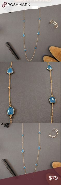 Argento Vivo 18K gold plated long necklace This gorgeous new with tags 18K gold plated sterling silver necklace has six 18k gold vermeil faceted cushioned geo stones stationed along the strand.  The blue colored stones are beautiful! This would make a lovely holiday gift. Argento Vivo Jewelry Necklaces