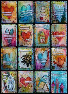 Recycled card set ~ free tutorial by artist Nicole Maki; mixed media gesso & collage #art #journal