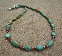 All Natural High Quality Tibetan Turquoise and Carnelian Necklace in Sterling Silver by EurekaSpringsRocks.  Beautiful, unusual stones!!