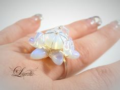 Opalite glass fashion ring by Laurelisbijoux on Etsy, $8.99