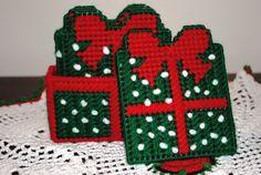 Christmas present plastic canvas coaster set. $15.00, via Etsy.