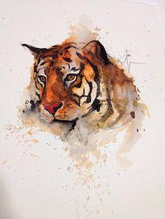 arte, desenho,pintura,aquarela,tigre,felino,ilustração
