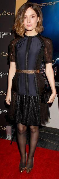 Who made  Rose Byrne's blue short sleeve dress and gold belt?