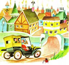 Country mice heading to visit their cousins in the city #richardscarry Richard Scarry #illustration