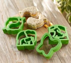 Animal Lunch Punch Sandwich Cutters from Pottery Barn Kids. Designed to capture most of the bread when it cuts the crust off. Other shapes available - princess, transportation & more. $15.00 for the set of 4.