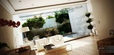 Private Courtyard With Green Plant And White Single Sofas With Standing Lamp For Lighting Courtyard Design, Internal Courtyard, Single Sofa, Green Plants, Landscape Design, Living Spaces, House Design, Flooring, Creative