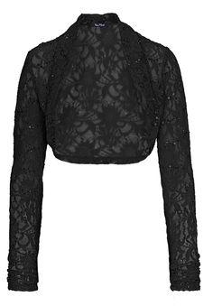 Schwarze Spitzenjacke von Vera Mont, vielseitig kombinierbar. Jetzt online bestellen!