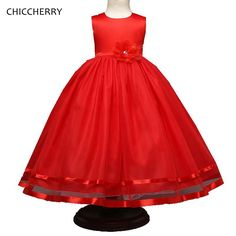 >> Click to Buy << Red Flower Kids Ball Gown Party Outfits Summer Children Girl Wedding Dress Robe Fille Mariage Princess Dresses Toddler Clothes #Affiliate