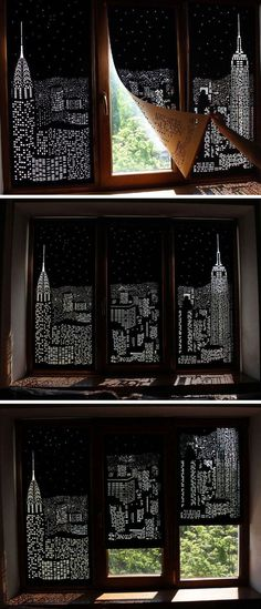 Buildings and Stars Cut into Blackout Curtains Turn Your Windows Into Nighttime Cityscapes - home sweet home - City Blinds, Blackout Blinds, Diy Blackout Curtains, Window Curtains, Black Out Curtains Bedroom, Room Window, Blackout Shades, Glass Door Curtains, Apartment Curtains