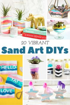 This roundup of 20 sand art DIY projects features everything from terrariums and planters to homemade sugar scrubs, wall art, and jewelery. Diy Art Projects, Projects For Kids, Crafts For Kids, Diy Colored Sand, Sand Art Bottles, Sugar Scrub Diy, Sand Crafts, Crafty Craft, Beach Proposal