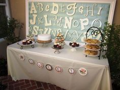Project Nursery - Baby Shower Dessert Table with Alphabet Backdrop