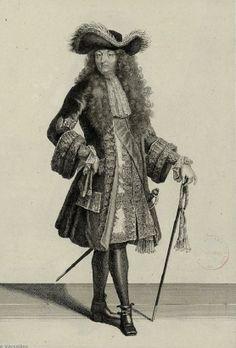 Louis XIV... Wearing plumed hat (Caudebec), just acorn, cravat, waistcoat, breeches, Louis shoes