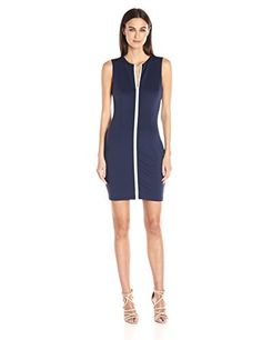 Guess Women's Sleeveless Bianca Zipper Scuba Dress Slip into a sleeveless scuba-knit dress, designed with a second-skin bodycon fit that hugs your curves from the crewneck to the midi hem. Darted bust and contrast double zipper at front.SleevelessDouble zipper  Dresses, outfits, outfits for girls, outfits for school, outfits for winter 2017, outfits for women, outfits with jeans and boots, strapless dresses