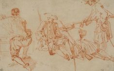 Jean-Antoine Watteau (1684–1721), Three Studies of a Soldier and a Kneeling Man, ca. 1710. Red chalk, within brown ink framing lines, 4 13/16 × 7 11/16 in. (12.2 x 19.5 cm). École nationale supérieure des Beaux-Arts, Paris.