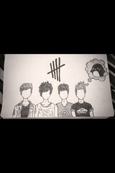 My fan art :)<<<<<look how skilled this person is! This is amazing! Cartoon Drawings, Art Drawings, Lyric Drawings, 5sos Drawing, 5sos Fan Art, 5sos Pictures, Lyric Art, 1d And 5sos, Second Of Summer