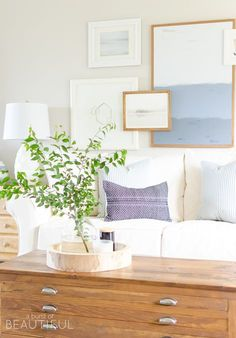 Simple Navy and White Fall Living Room - A Burst of Beautiful