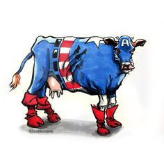 This weekend I managed to finish my entry for the Gallery 1988 Force Awakens art show (I'll post that painting soon). So for this week please enjoy THE BARNYARD AVENGERS! Up first: Captain Americow. #Avengers #CaptainAmerica #cow #farm #moo #humor #funny #joke #comics #art #sketch #comicbook #nerd #geek #geeklife #jokeoftheday #nerdhumor #nerdart