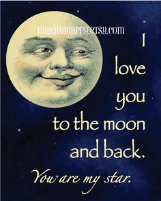 I Love You To The Moon and Back  8 x 10 Art Print - so sweet for baby or child's room!