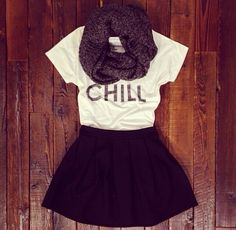 Adorable outfit. I want this Chill tee shirt asap.