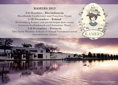2013 Dates & Venues: Over the last decade KAMERS has had the privilege to present SA's top creativity in a few of the Cape's finest venues. Continuing this tradition, we are thrilled to host our Boland show at the picturesque Webersburg Estate, 5-10 Nov. We will be in Bloemfontein for the second time at Woodlands Conference & Function Venue, 3-6 Oct and end the year on a high in Irene, Pretoria at @Matty Chuah Open Window School of Visual Communication, 3-8 Dec. See you at KAMERS 2013! xxx