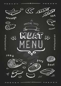 Meat menu on chalkboard. Set of meat symbols, beef, pork, chicken and lamb. Carnicerias Ideas, Chicken Menu, Food Quotes, Art Quotes, Meat Chickens, Chalkboard Art, Free Vector Art, Funny Fails, Carne
