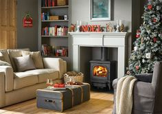 New wood burning stove christmas living rooms 52 ideas Cheap Wood Flooring, Front Room, Christmas Living Rooms, Victorian Living Room, Wood Burning Stoves Living Room, Room, Fireplace, Home Fireplace, Front Rooms