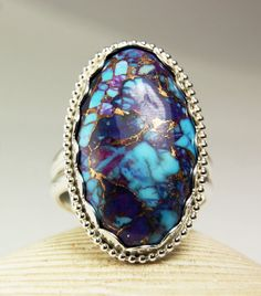 Sterling Silver Purple Turquoise Ring, Bronze Mohave, Big Stone, Handmade Jewelry, made to order