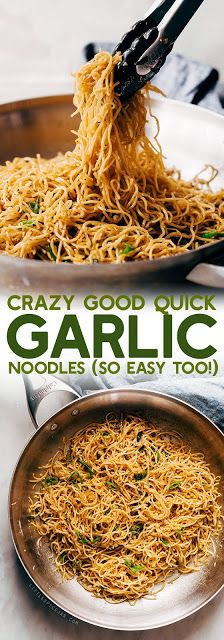 Crazy Good Quick Garlic Noodles - a quick 15 minute recipe for garlic noodles! These noodles are a fusion recipe and have the BEST flavor! Crazy Good Quick Garlic Noodles - a quick Asian Recipes, New Recipes, Vegetarian Recipes, Dinner Recipes, Cooking Recipes, Healthy Recipes, Cheap Recipes, Quick Recipes, Seafood Recipes
