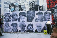 Leeman has worked often with homeless men in his work here in San Francisco, creating their likeness on paste ups, paintings and t-shirts among other things. (The latter's proceeds he donates to the individuals who inspired the work). Inside Out it is a perfect avenue for Leeman's work: giving disposable cameras to men who live on the streets or in shelters to take pictures of their friends and 'neighbors'. The wall is a result of these photos. It was a beautiful Sunday -- and lots of people…