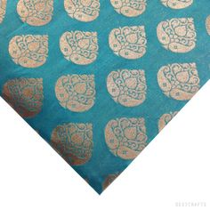 Teal and Gold Pure Silk Fabric Half Yard- Gold Jari Weaving Silk for Dresses / Costumes / Home Furnishing