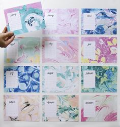 May Designs Marbled Calendar / Oh So Beautiful Paper marbles diy crafts Marble Painting, Marble Art, Diy Calendar, Calendar Design, Paper Cards, Diy Paper, Diy Marble Paper, Ebru Art, Painted Paper