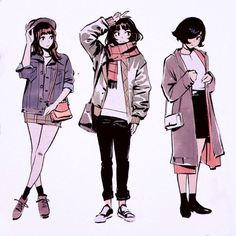 Autumn-Winter Outfits by Kuvshinov-Ilya on DeviantArt Character Design Cartoon, Character Design Inspiration, Character Art, Poses, Kuvshinov Ilya, Estilo Anime, Boating Outfit, Fashion Art, Fashion Design