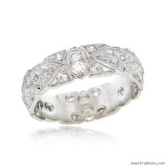 White Gold & Diamond Hand Engraved Geometric Bridal Band in White Gold Rings