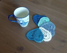 """Crochet: Set of 5 """"Shade of Blue Hearts"""" coasters by NadoandLola on Etsy Blue Hearts, Crochet Doilies, Shades Of Blue, Coasters, Crochet Earrings, Knitting, Trending Outfits, Unique Jewelry, Handmade Gifts"""