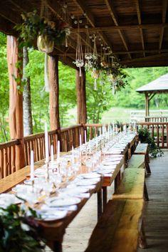 long rustic tablescape